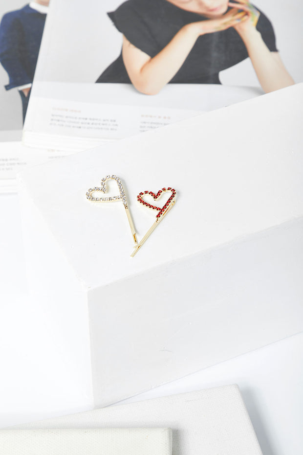 Stone Studded Heart Bobby Pin in Mini Size