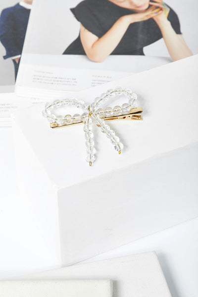 Clear Beads Ribbon Hair Clip by STORETS