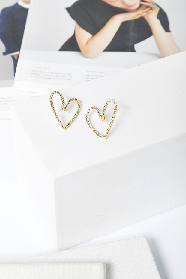 Stone Studded Heart Earrings by STORETS