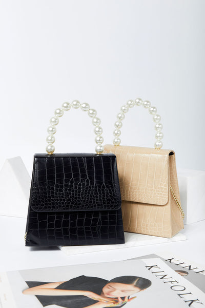 Crocodile Pattern Bag w/ Pearl Handle