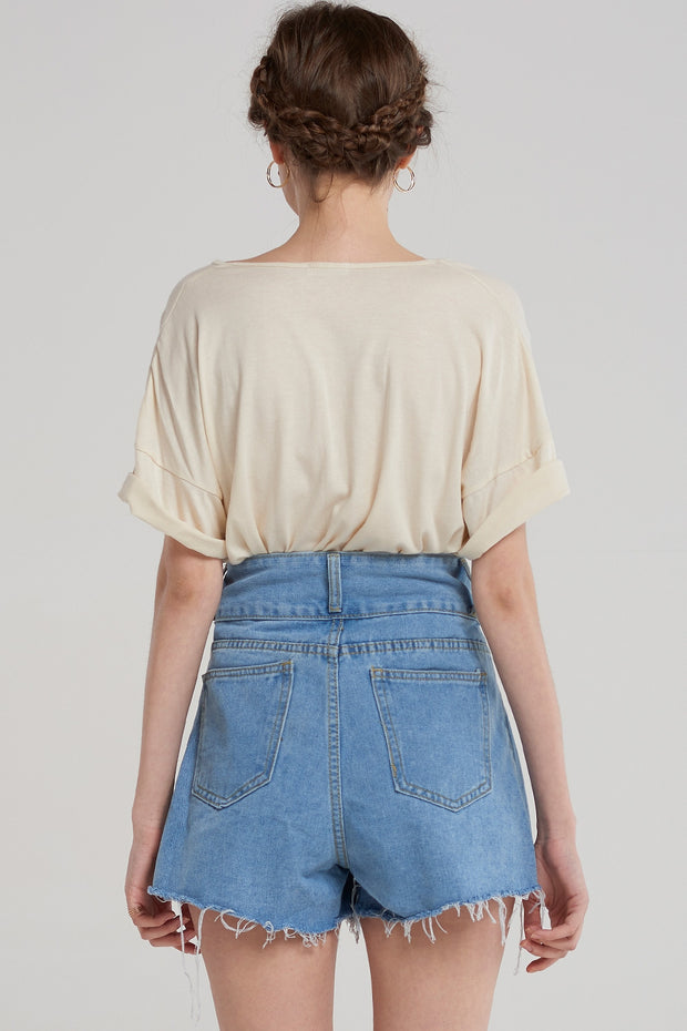 storets.com Zoe Flared Denim Shorts