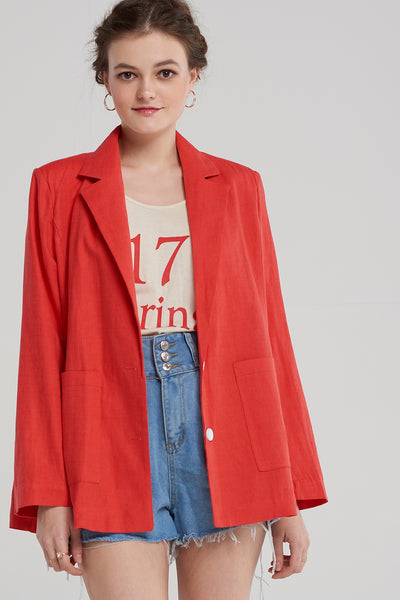 Hailey Rouge Linen Blazer