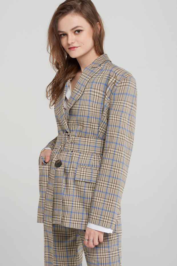 Jean Check Jacket with Belt