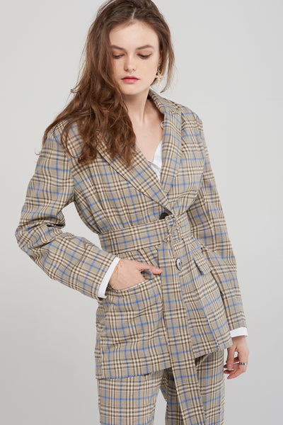 storets.com Jean Check Jacket with Belt