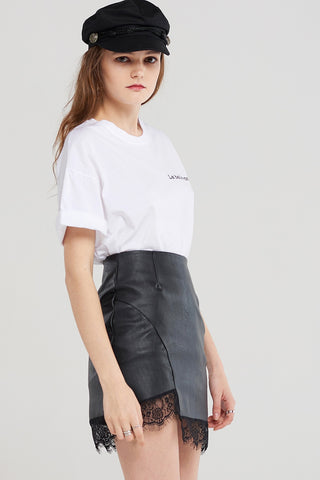 Connie Lace Leather Skirt