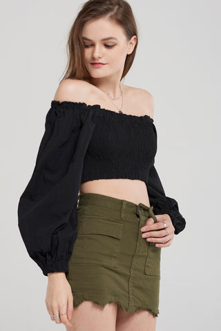 Lin Khaki Pocket Skirt