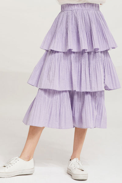 Sariyah Tiered Pleated Ruffle Skirt by STORETS