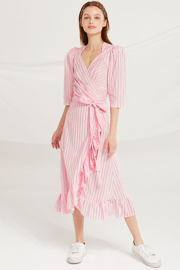 Amani Striped Wrap Dress by STORETS