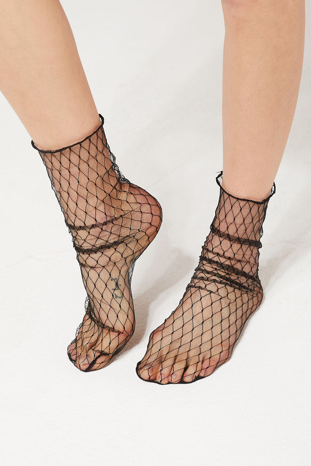 Sheer Mesh Fishnet Socks by STORETS