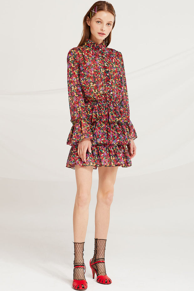 Belen Printed Tiered Ruffle Dress by STORETS
