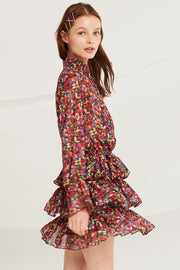 Belen Printed Tiered Ruffle Dress