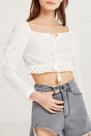 Landry Eyelet Lace Crop Top by STORETS