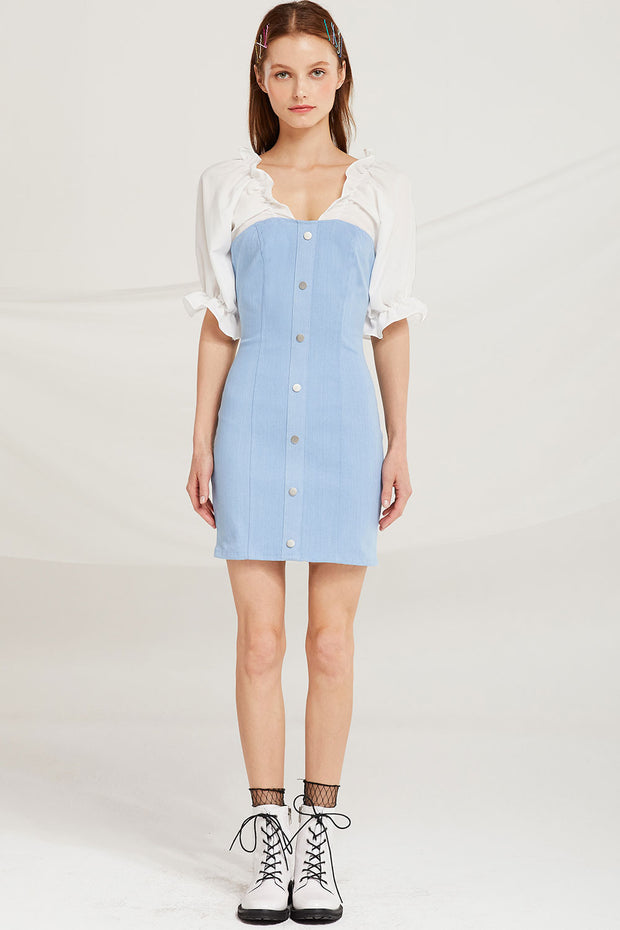 Olivia Denim Dress w/ Frill Top