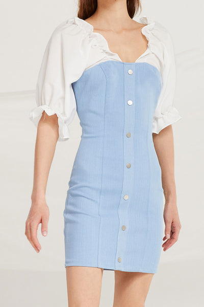 Olivia Denim Dress w/ Frill Top by STORETS