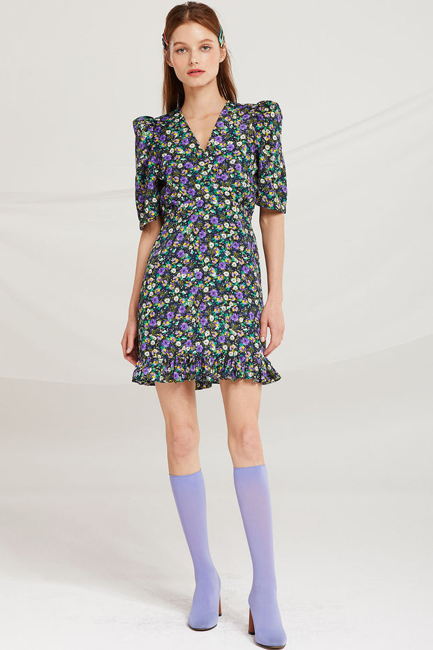 Bevel V-Neck Floral Dress by STORETS