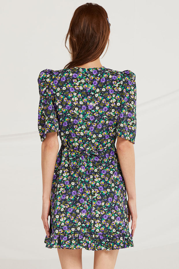 Bevel V Neck Floral Dress