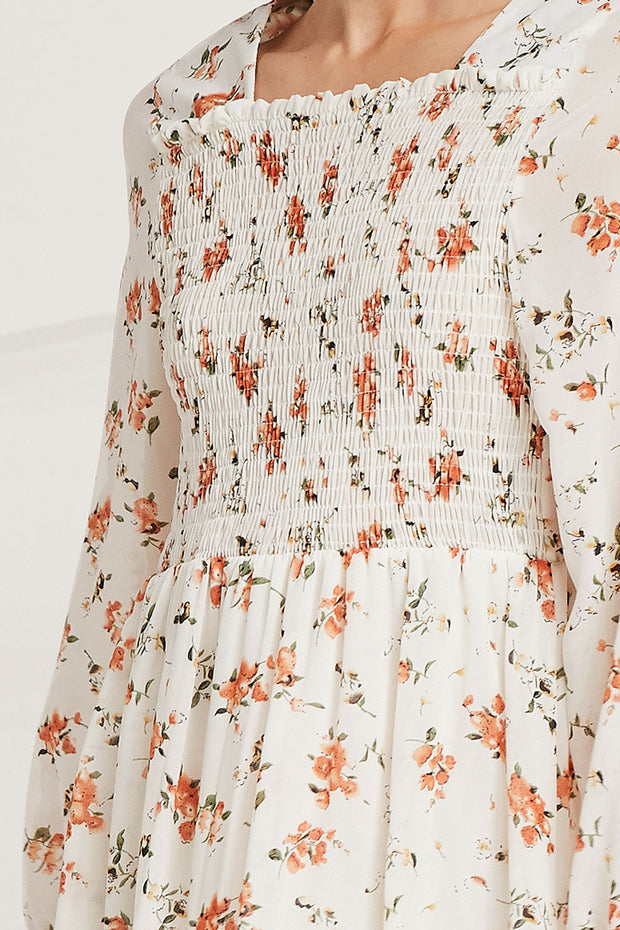 Lina Square Neck Floral Smock Dress