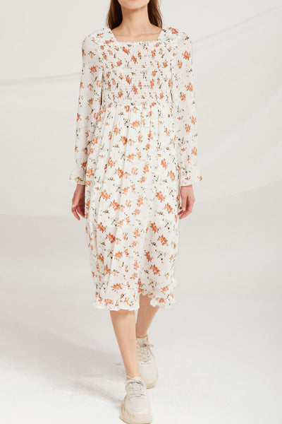 Lina Square Neck Floral Smock Dress by STORETS