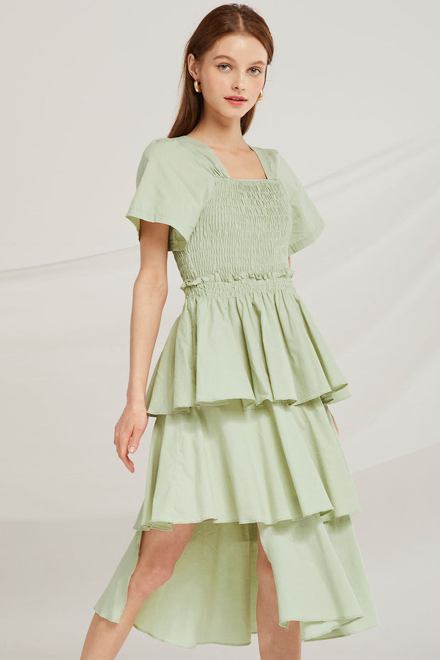 Erika Tiered Ruffle Smock Dress by STORETS