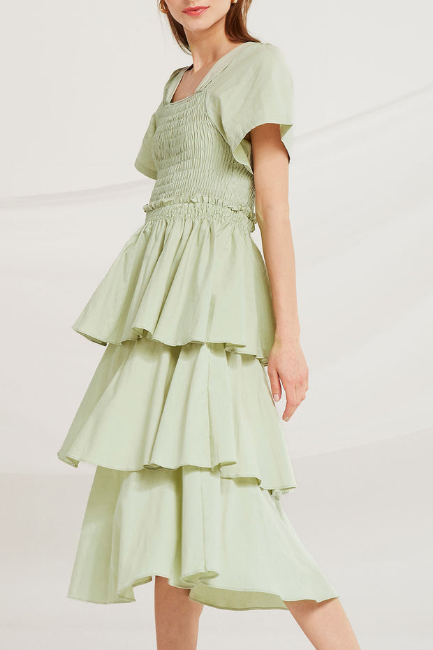 Erika Tiered Ruffle Smock Dress