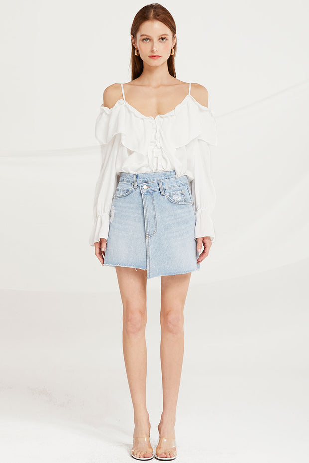 Claudia Ruffle Cold Shoulder Blouse