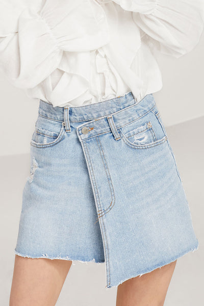 storets.com Chloe Criss Cross Denim Skirt