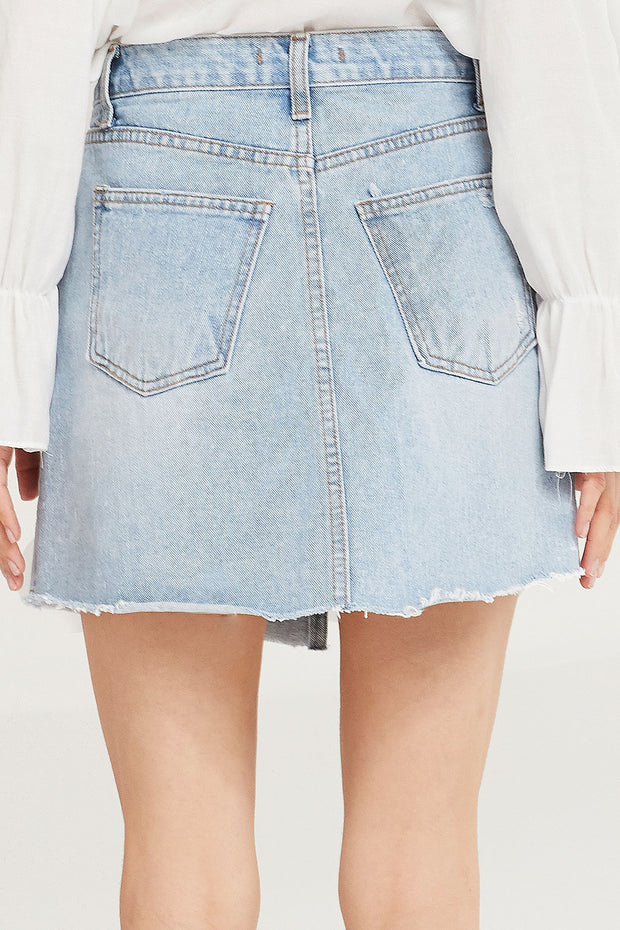 Chloe Criss Cross Denim Skirt