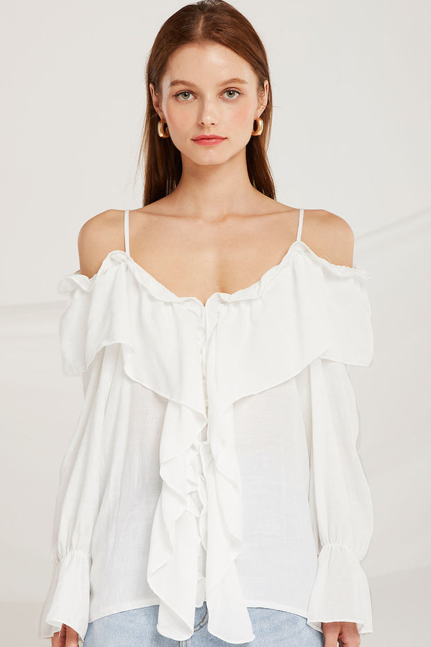 Claudia Ruffle Cold Shoulder Blouse by STORETS