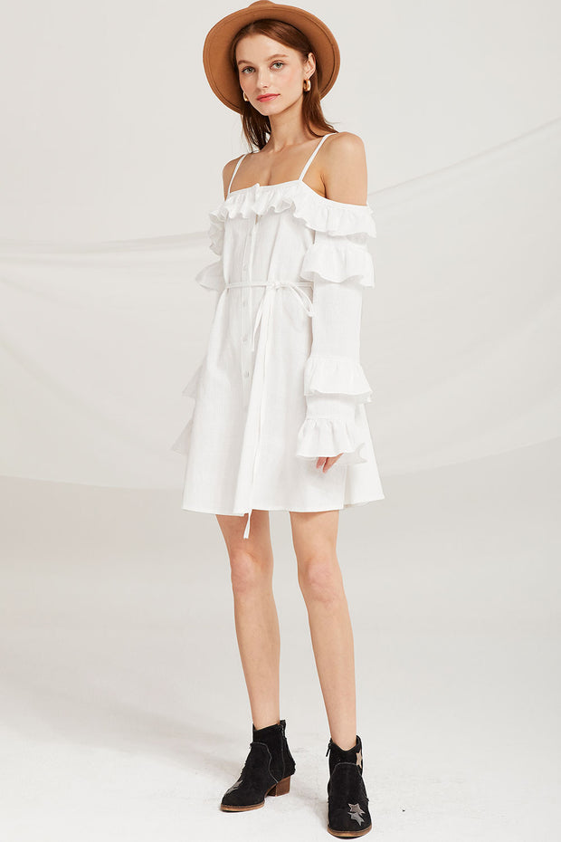 Zariyah Ruffle Cold Shoulder Dress
