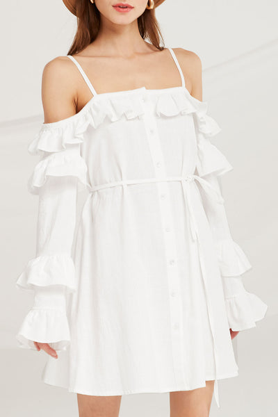 Zariyah Ruffle Cold Shoulder Dress by STORETS