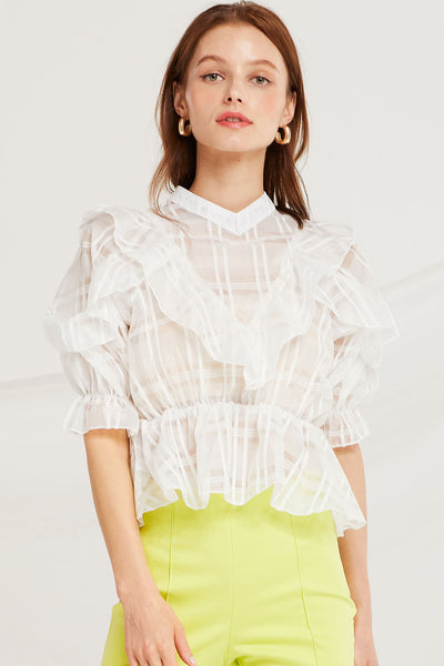 Nalani Plaid Organza Blouse by STORETS