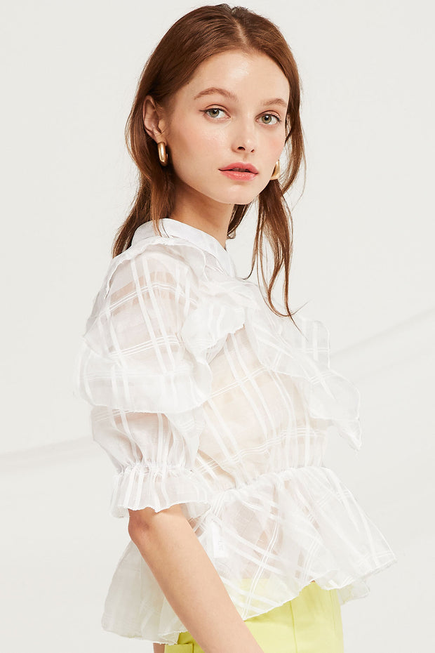 Nalani Plaid Organza Blouse
