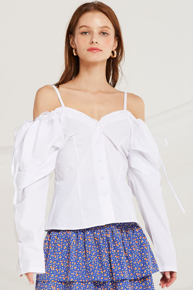 Miah Strap Cold Shoulder Top by STORETS