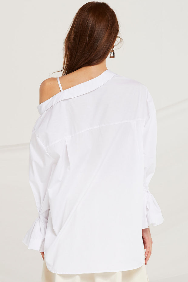 storets.com Lailah Asymmetric Cold Shoulder Shirt