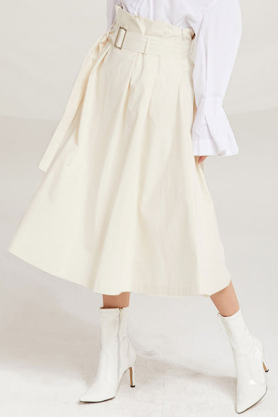 Analia Belted Paperbag Waist Skirt by STORETS