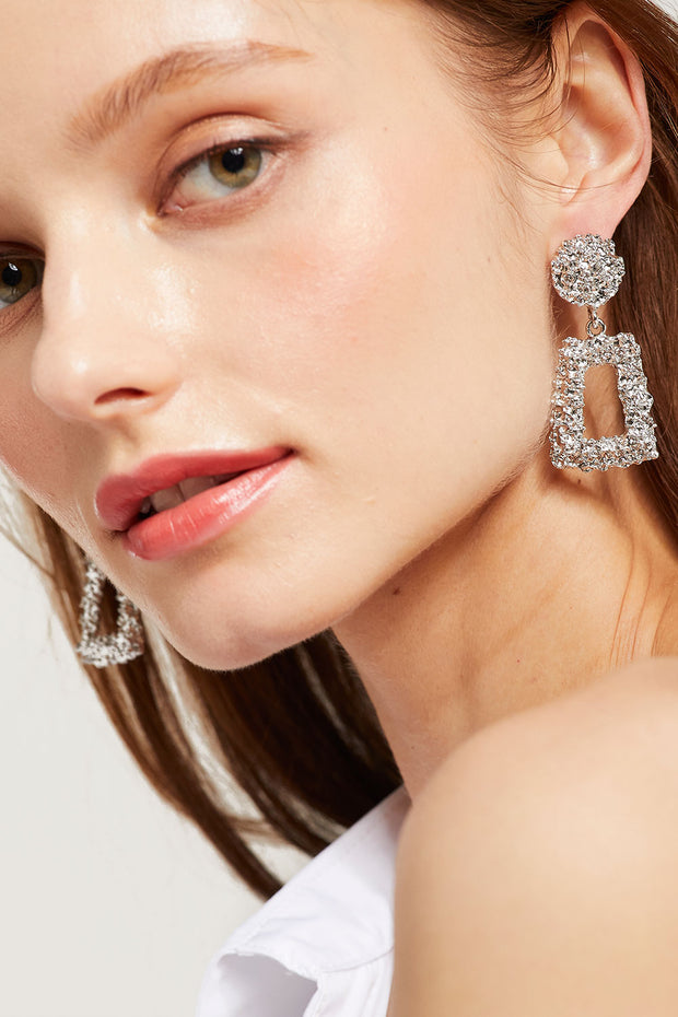 Textured Geometric Drop Earring