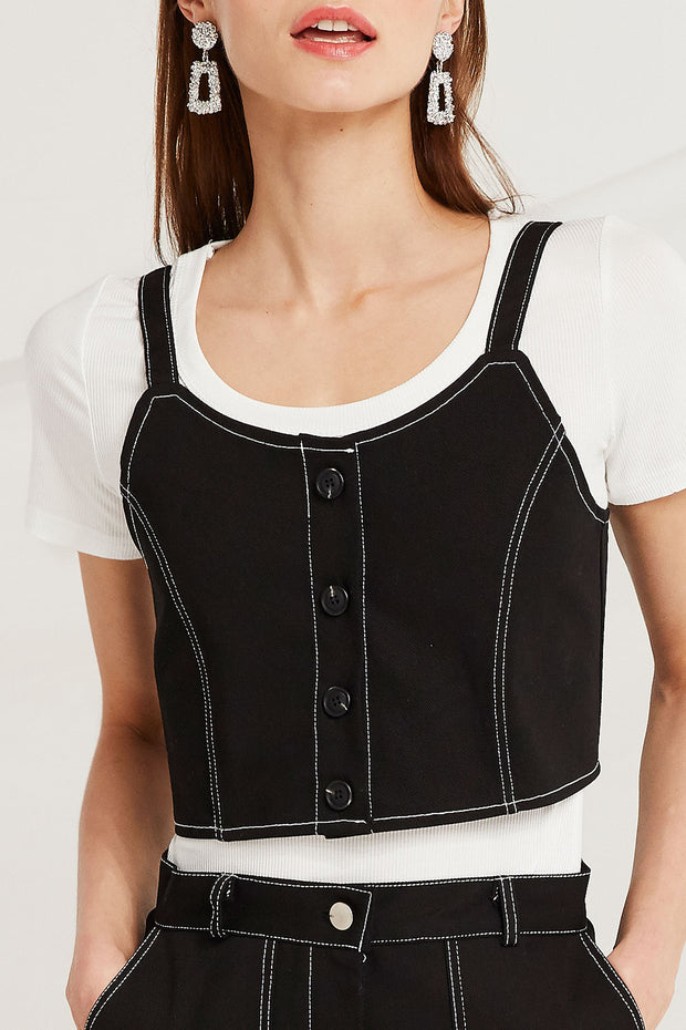 Morgan Contrast Stitch Bustier Top by STORETS