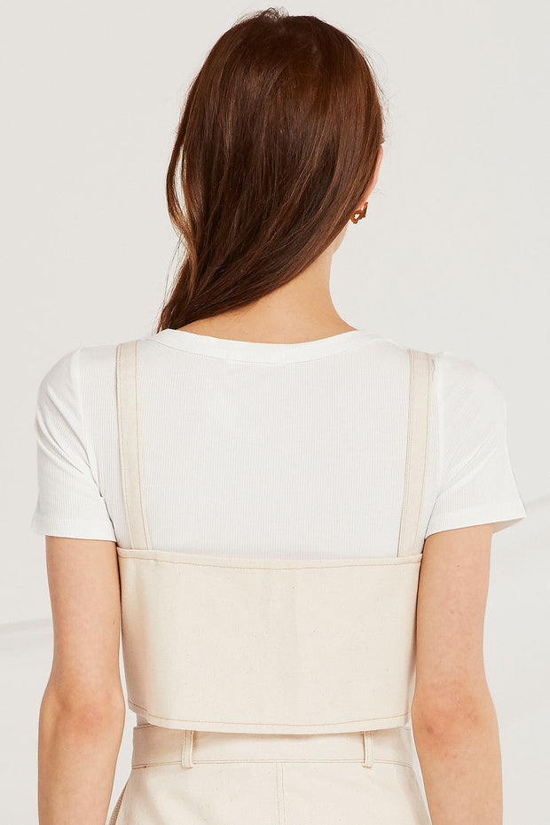 Morgan Contrast Stitch Bustier Top