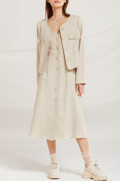 Ariadne Linen Round Neck Jacket by STORETS