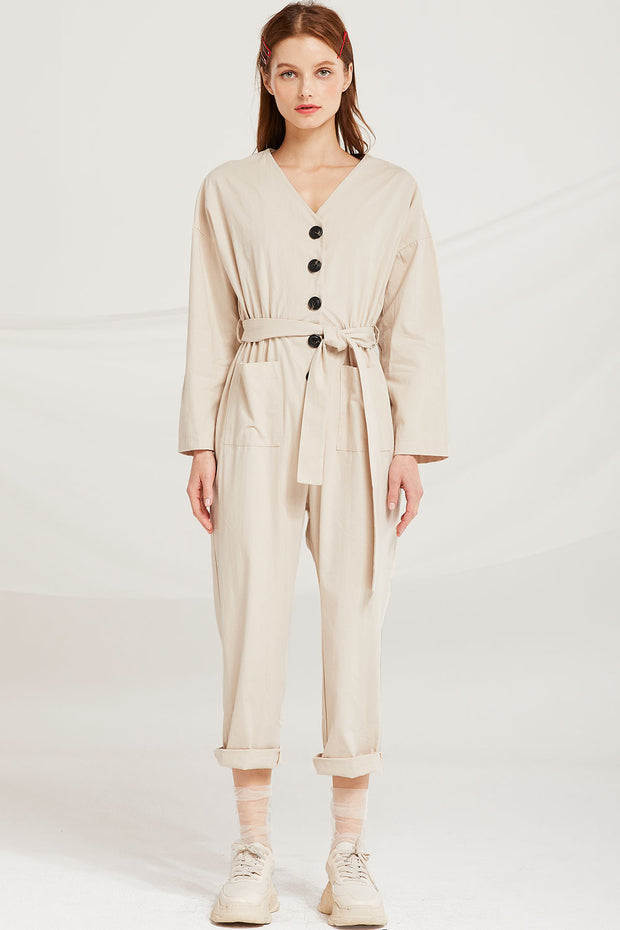 storets.com Leanna Button Detail Belted Jumpsuit