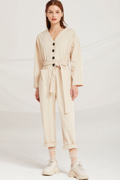 Leanna Button Detail Belted Jumpsuit by STORETS