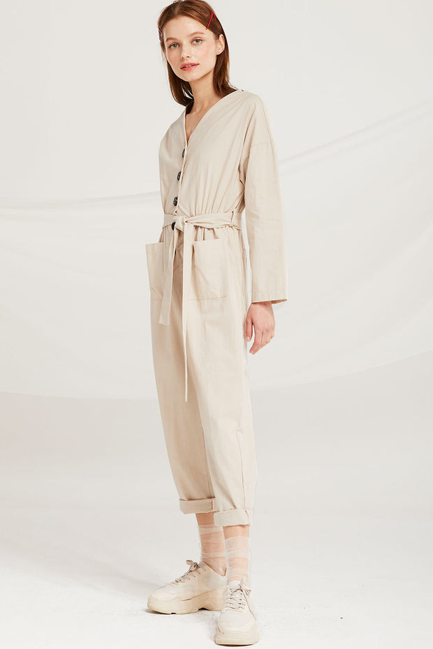 Leanna Button Detail Belted Jumpsuit
