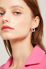 Square Pearl Hoops Earrings by STORETS