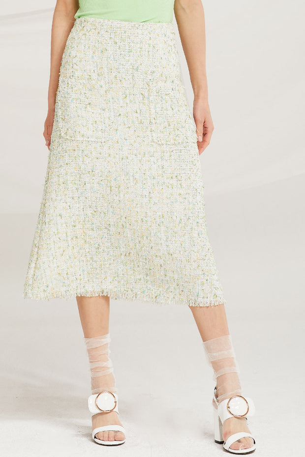 Zaria Tweed Midi Skirt by STORETS