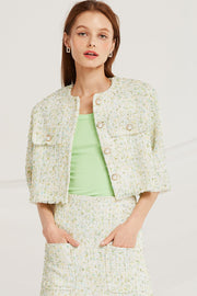 Zaria Tweed Round Neck Jacket by STORETS