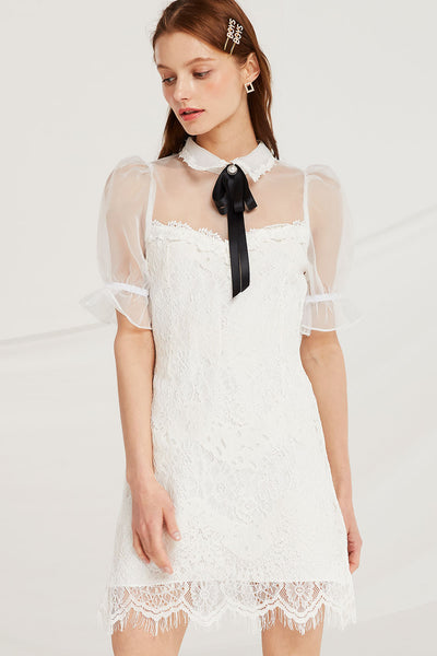 Daisy Lace Dress w/ Organza Top by STORETS