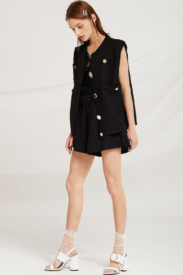 Penny Jewel Button Vest Jacket