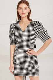 Kadence Gingham Puff Sleeve Dress by STORETS