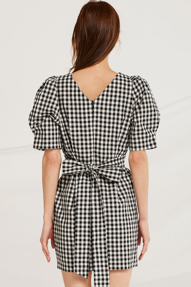 Kadence Gingham Puff Sleeve Dress