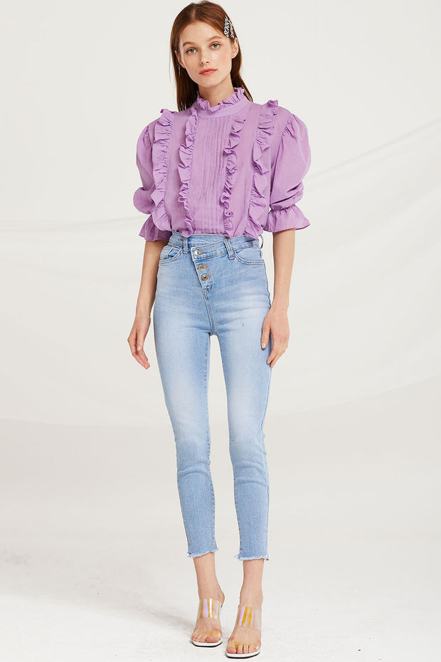Amia Diagonal Button Jeans